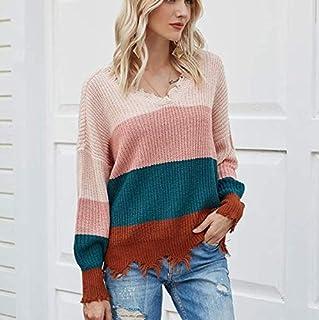 SDJYH suéter de Mujer con Cuello en V y Manga Larga de Punto Jerseys Sueltos Casuales de Punto Jerseys 01