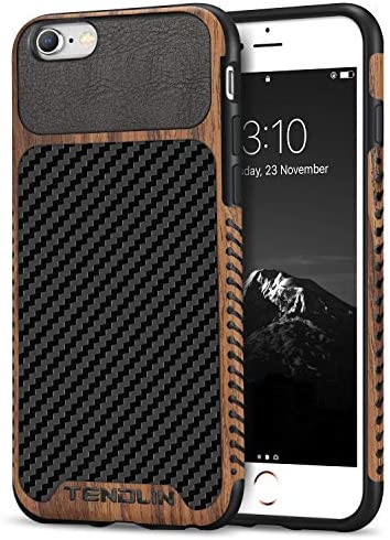 TENDLIN Compatible with iPhone 6s Case iPhone 6 Case Wood Grain with Carbon Fiber Texture Design product image