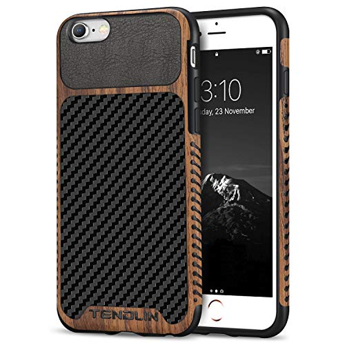 TENDLIN Compatible with iPhone 6s Case/iPhone 6 Case Wood Grain with Carbon Fiber Texture Design Leather Hybrid Slim Case Compatible with iPhone 6s and iPhone 6 (Carbon & Leather)