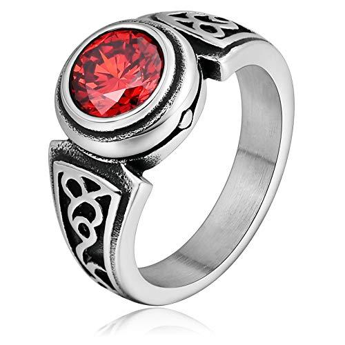 Adisaer Edelstahl Ring Vergoldet Vintage Ringe Fingerring Rattan Grain Daumenring Herren Edelstahl Rot