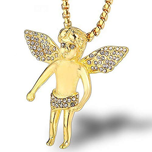 Burenqi Hip Hop Baby Angel Wings Micro Hanger Ice Out Bling Goud RVS Lange Ketting Glanzende Mannen Vrouwen Sieraden