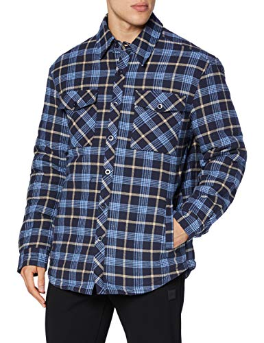 Urban Classics Herren Plaid Quilted Shirt Jacket Hemd, lightblue/darkblue, XXL