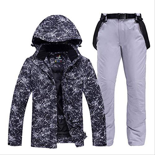 LJYNB -30 ropa blanca de esquí para adultos Conjuntos de snowboard impermeable a prueba de viento Chaqueta y pantalón de traje de nieve transpirable al aire libre Chaqueta y pantalón Unsex M