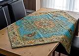 Mantel LPUK Afshari Collection Series3 turquesa 100 cm × 100 cm aprox. Mantel de tela cuadrada clásico patrón vintage