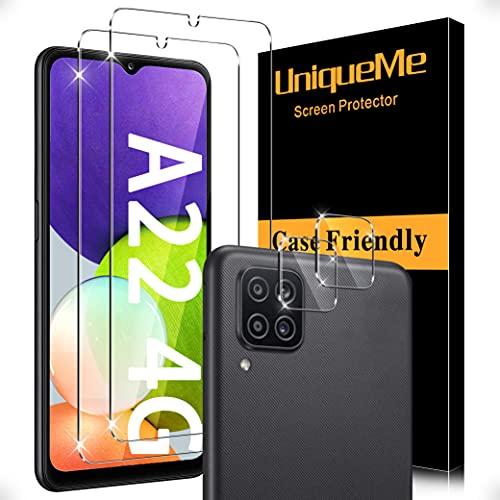[2+2 Stück] UnqiueMe Schutzfolie für Samsung Galaxy A22 4G (Nicht für A22 5G) 2 Stück Panzerglas und 2 Stück Kamera panzerglas, [Anti- Kratzer], [9H Härte], [Bläschenfrei], [HD-Klar] Folie Glas