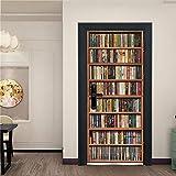 Fantxzcy 3D Türtapete Selbstklebend Bücherregal