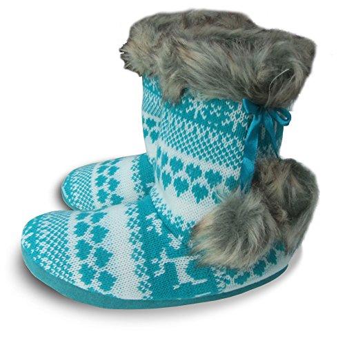 Slumberezz Warm Boot Slippers Pretty Heart Design for Women (5/6 UK, Aqua Reindeer)