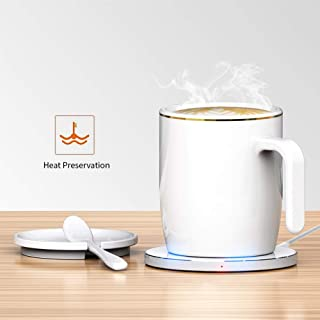 Coffee Heating Mug Wireless Thermostat Coffee Mug Keep Warm about 50℃ Made of Fine Bone China (White)