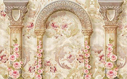Fototapete 3D Effekt Römischer Säulenmarmor Mit Rosa Rosenmuster Wandbilder Wandtapete Wohnzimmer Schlafzimmer Tapeten Modern Vlies Bild Tapete Fototapete 200cmx140cm