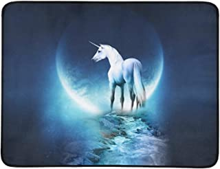 Unicorn Horse Magical Animal Moon F X Pattern Portable and Foldable Blanket Mat 60x78 Inch Handy Mat for Camping Picnic Beach Indoor Outdoor Travel