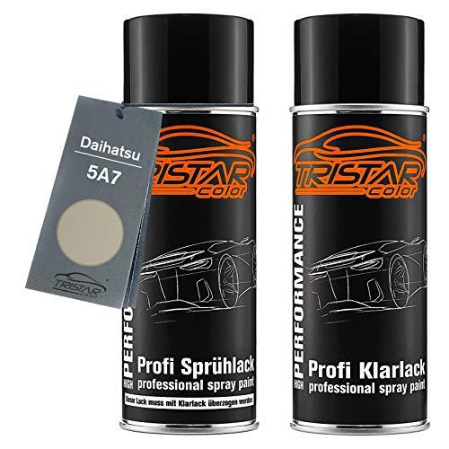 TRISTARcolor Autolack Spraydosen Set für Daihatsu 5A7 Silky Gold Perl Metallic/Champagne Perl Basislack Klarlack Sprühdose 400ml