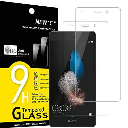 NEW'C 2 Unidades, Protector de Pantalla para Huawei P8 Lite, Antiarañazos, Antihuellas, Sin Burbujas, Dureza 9H, 0.33 mm Ultra Transparente, Vidrio Templado Ultra Resistente