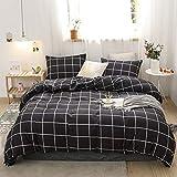 Bedbay Grid Bedding Set Black White Duvet Cover Set Modern Geometric Grid Bedding Sets Queen 1 Duvet Cover 2 Pillowcases (Black, Queen)