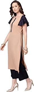 Ziyaa Women's Beige Color Solid Straight Crepe Kurta With Palazzo / Salwar Suit Set
