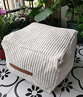 RISEON Boho Hand WovenContemporaryCotton LinenFabric Pouf Cover Footstool Ottoman Poufs Unstuffed-Square Floor Cushion Footrest Cover for Living Room, Bedroom and Under Desk (Beige)