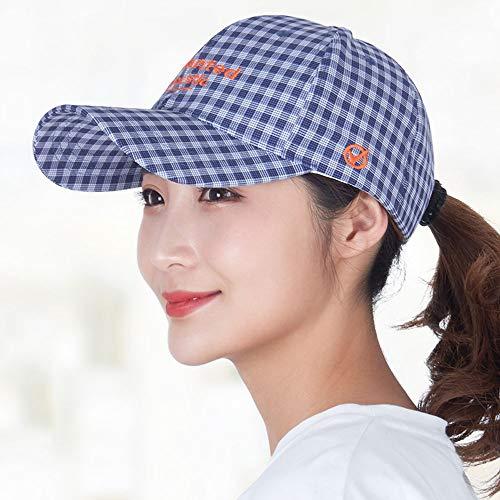 Boeizy Hut Frau koreanische Version des Trend-Hutes Frühlings- und Herbstmode-Plaid-Mütze Britisches Gramm Sonnenhut Größenverstellbarer Mädchen-Visier-Hut (Color : Blau)