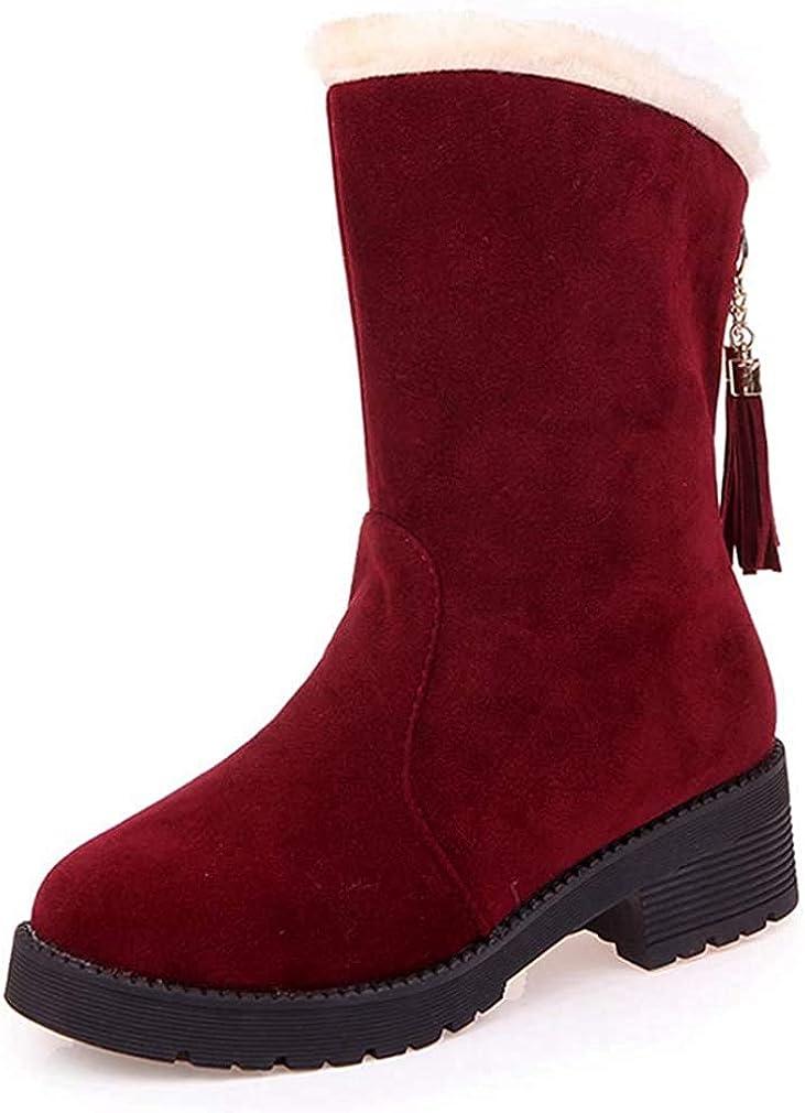 Women's Winter Faux Fur Tassel Snow Ankle Boots Outdoor Suede Waterproof Slip-on Short Booties