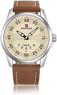 NaviForceニュースポーツクォーツ時計防水メンズ時計トップブランドの高級な本物のレザー日付週時計の時計