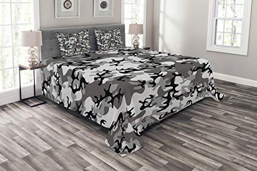 ABAKUHAUS Camo Tagesdecke Set, Camouflage-Konzept, Set mit Kissenbezügen Weicher Stoff, für Doppelbetten 264 x 220 cm, Schwarz-graue Silber