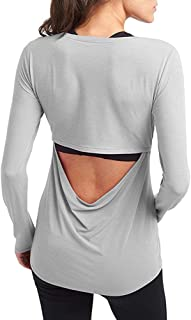 Long Sleeve Workout Shirts for Women Cute Open Back Athletic Running Yoga Tops
