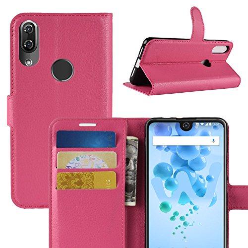 HongMan Handyhülle für Wiko View 2 Pro Hülle, Premium Leder PU Flip Hülle Wallet Lederhülle Klapphülle Magnetisch Silikon Bumper Schutzhülle Tasche mit Kartenfach Geld Slot Ständer, Pink