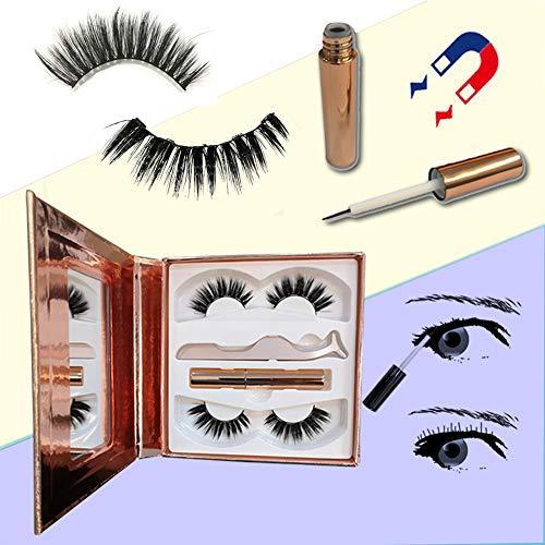 Magnetische Wimpers, Magnetische Eyeliner En Wimperset, 3 Magneten, Nepwimpers Geen Lijm Nodig Magnetische Wimperset (2 Paar),15