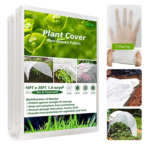 Plant Covers Freeze Protection Frost Blankets for Outdoor Plants, 30Ft×10Ft 1.0oz Frost Cloth Reusable Floating Row Cover for Vegetables Frost Protection