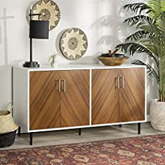 Featuring bookmatch style cabinet door fronts for an intriguing style With a retro, mid century modern style With metal legs and a 2 tone design As a buffet, TV console, entertainment center, and storage console Made out of high grade MDF with shelvi...