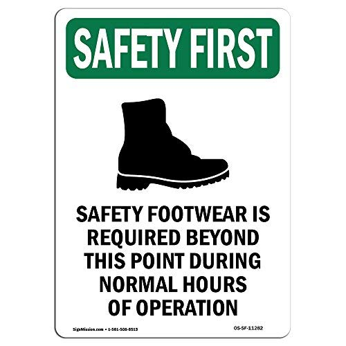 Diuangfoong OSHA Schild Sicherheitsschuhe mit Symbol Safety Footwear is with Symbol, Aluminium, 30,5 x 45,7 cm