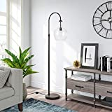 Henn&Hart Arc Blackened Bronze Floor Lamp with Clear Glass Shade for Living Room / Office / Bedside