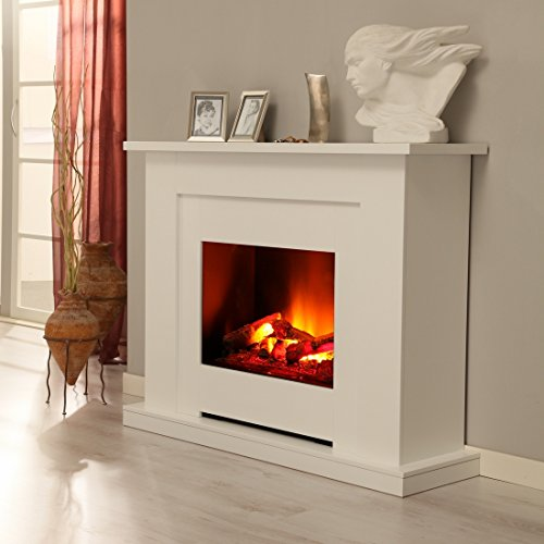 Albero Möbel Elektrokamin Sydney brillantweiß, Opti Myst Flammentechnik, Wasserdampf Feuer