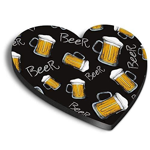 Destination Vinyl ltd Imanes de MDF con forma de corazón, diseño de cerveza, para oficina, gabinete y pizarra, pegatinas magnéticas, 46121