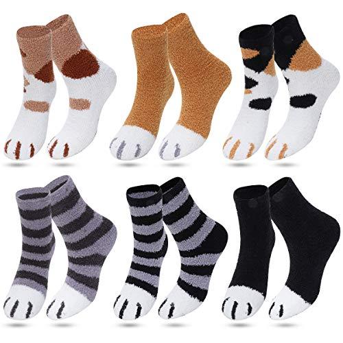 Calcetines mullidos de las mujeres de coral de lana calcetines de pantuflas calcetines de cama calcetines de invierno suaves de felpa caliente lindo multipack regalos para las mujeres