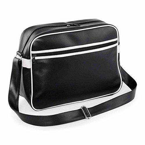 BagBase BG091BKWH - Bandolera unisex estilo retro, color negro y blanco Bg091, tamaño mediano