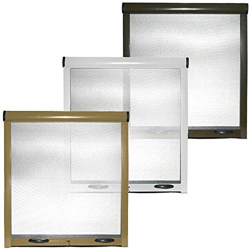 Cilvani - Mosquitera enrollable con estructura de aluminio para ventanas y puertas, blanca y marrón (100x 170cm)
