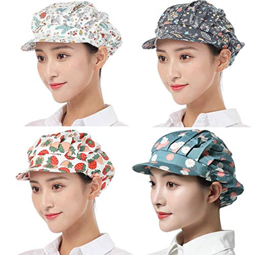 4pcs Chef Hat Adjustable Elastic Breathable Work Cap Beanie for Kitchen Cooking Service and Other Work
