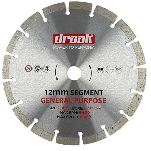 DRAAK - Disco de corte de diamante de 230 mm, para hormigón, piedra, ladrillo, bloque y más acero endurecido profesional de 12 mm