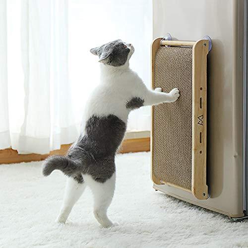 Hengu Katzen Austauschbare Kratzmatte, Katzenspielzeug Kratzmöbel mit Katzenminze, EIN Set mit Holzkratzmatte Kratzbretter mit Saugnapf + Recyclebare Wellpappe kann Austauschbar Sein