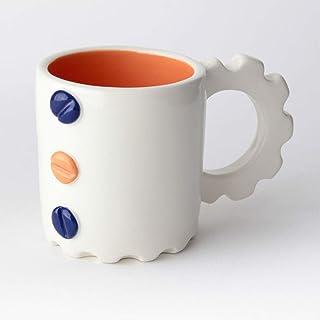 Taza de Cerámica hecha y pintada a mano, Disponible en varios colores, diseño mecánico – 200 ml (Azul, Naranja)