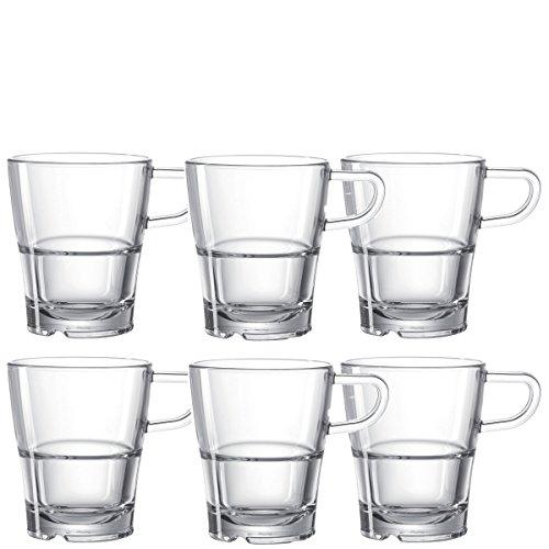 Leonardo Tasse Senso 6-er Set, 250 ml, Kaffee-Tasse, Henkel-Becher, stapelbar, mikrowellengeeignet ,014649