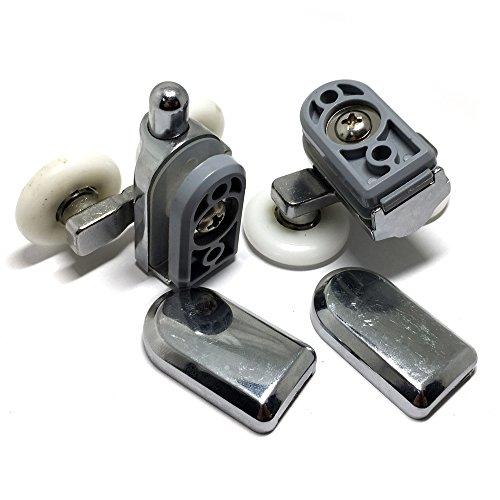 Glatte 4 x verchromte Duschrollen/Laufrollen/Ersatzrollen für oben und unten, 19 mm Durchmesser