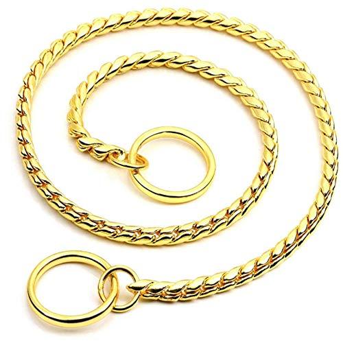 Serpente Collare per Cani Catena P Collare Catena Serpente Metallo Solido Allenamento Collari per Cani Oro, Argento, Nero-D'oro_XL5,0 mm * 65 cm