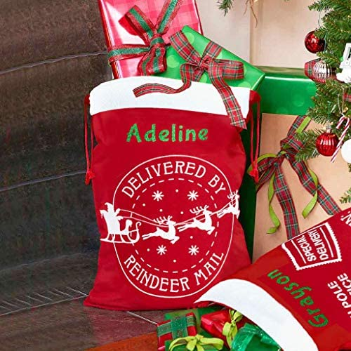 Amazon Com Dibsies Personalized Santa Sack Extra Large Reindeer Mail Home Kitchen