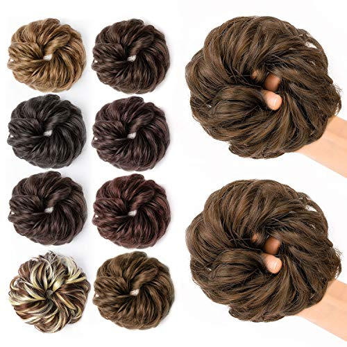 JessLab Postizos de Pelo, 2 Pcs Hair Bun Scrunchie Messy Bun Peluca Pelo Natural Coletas Postizas Extensiones de Cabello Pelucas y Accesorios Postizos para Mujeres Chica Damas (2/30# - 2 Packs)