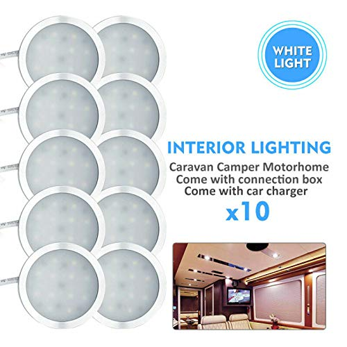 Riloer Luz de Coche para Camión, 10 Focos LED para Interiores de 12V y 2,5 W con Cargador, Adecuado para Caravana T4 T5, Luz Blanca