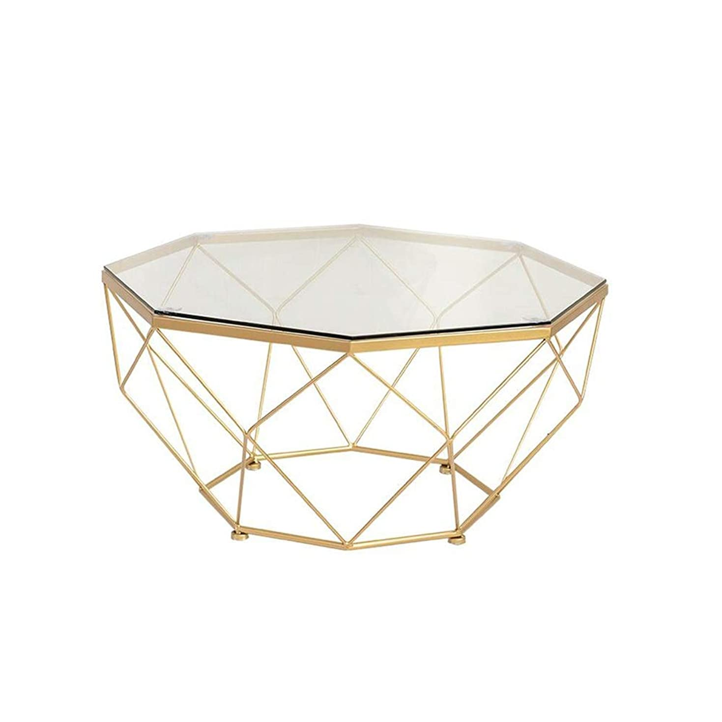 クルーゴールドオーラルXIAOYAN サイドテーブル 北欧のコーヒーテーブル、スタイリッシュな強化ガラステーブルのリビングルーム錬鉄製のソファーサイドテーブルバルコニースナックテーブル - ゴールド57×57×45 cm