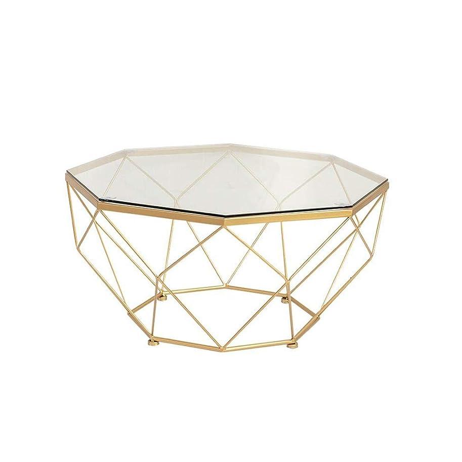 酔っ払い暫定デッキXIAOYAN サイドテーブル 北欧のコーヒーテーブル、スタイリッシュな強化ガラステーブルのリビングルーム錬鉄製のソファーサイドテーブルバルコニースナックテーブル - ゴールド57×57×45 cm