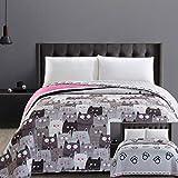 DecoKing 32329 Tagesdecke 170x210 cm Mikrofaser Bettüberwurf Steppung zweiseitig leicht zu pflegen beige Hellbraun kakaobraun braun grau Stahl anthrazit Grafit schwarz weiß rosa Katzen Cats' Invasion