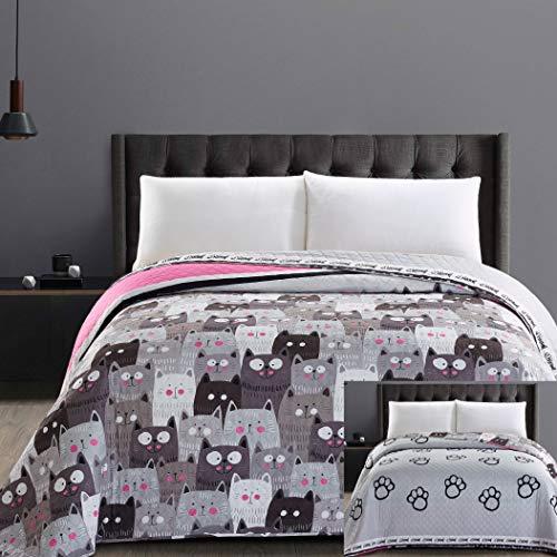 DecoKing 32367 Tagesdecke 240x260 cm Mikrofaser Bettüberwurf Steppung zweiseitig pflegeleicht grau Stahl anthrazit Grafit schwarz weiß rosa Katzen Cats' Invasion