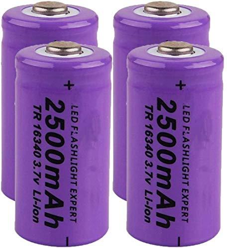 2 Piezas 16340 2500 Mah 3,7 v baterías Recargables de Iones de Litio para Linterna Faro LED luz de Juguete cámara de Control Remoto